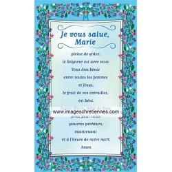Prière du Je vous salue Marie - Lot de 25 images - Décor fleurs