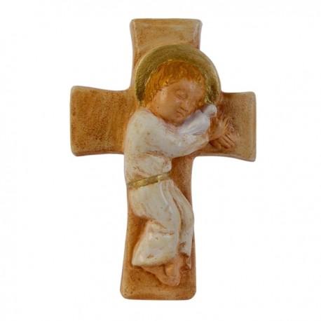Enfant-Jésus sur croix (polychrome)