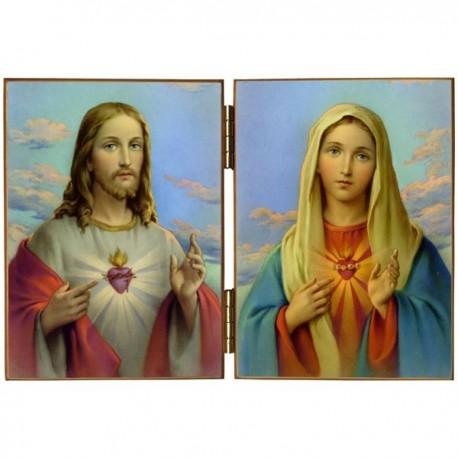 Diptyque religieux Le Sacré Cœur de Jésus et le Cœur Immaculé de Marie